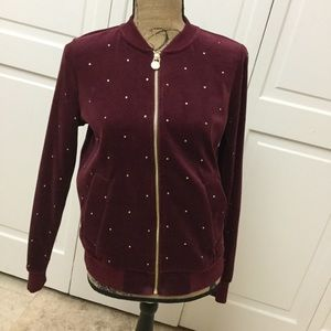 Michael Kors burgundy jacket with crystal accents